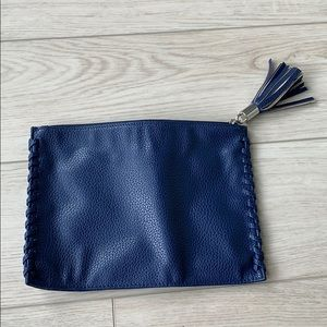 Navy blue vegan leather clutch